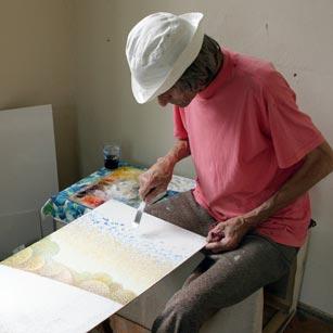 Szűcs Árpád festőművész, a tábor művészeti vezetője