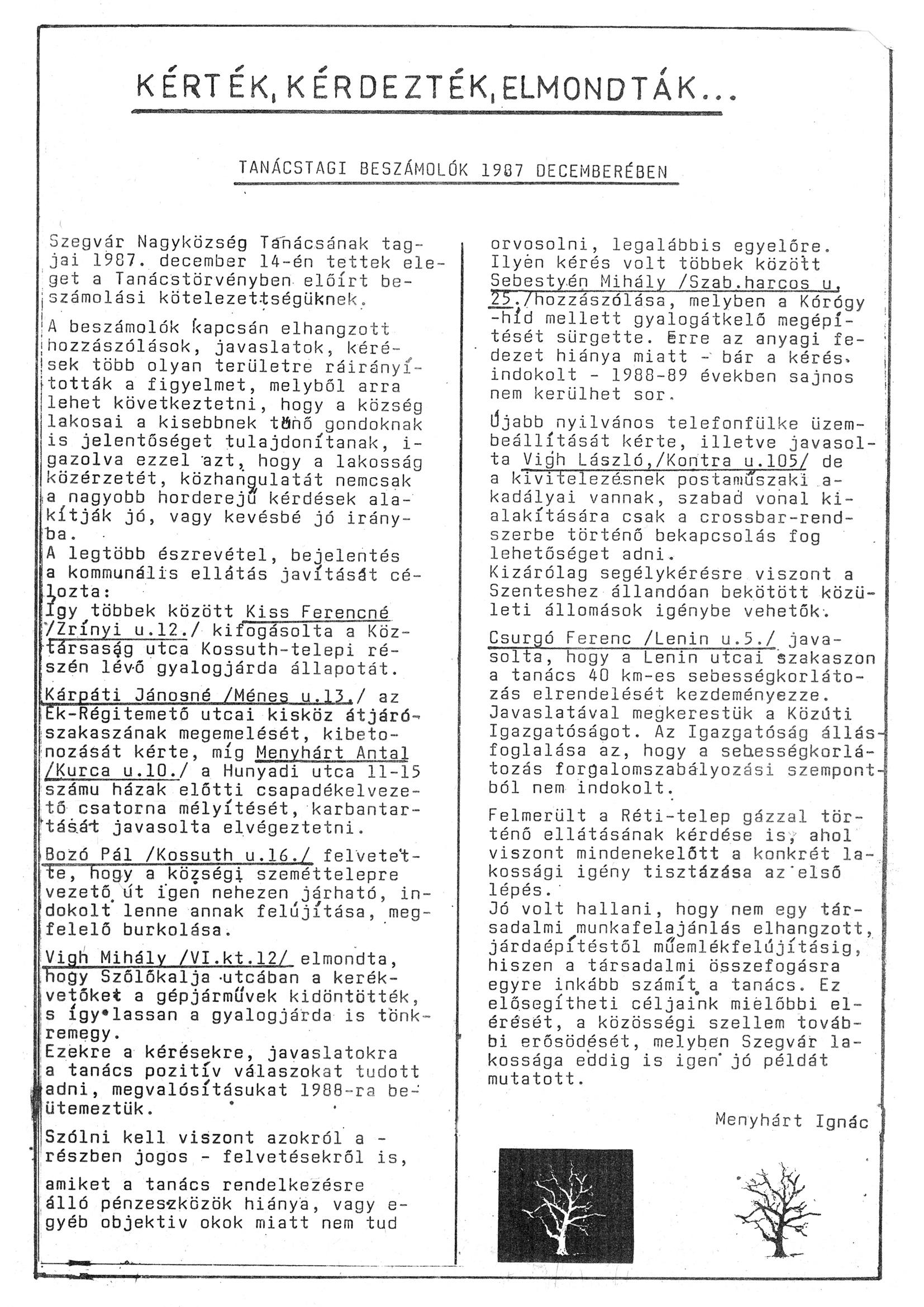 Szegvári Napló 001. lapszám – 1988. – 05. oldal – Digitalizá