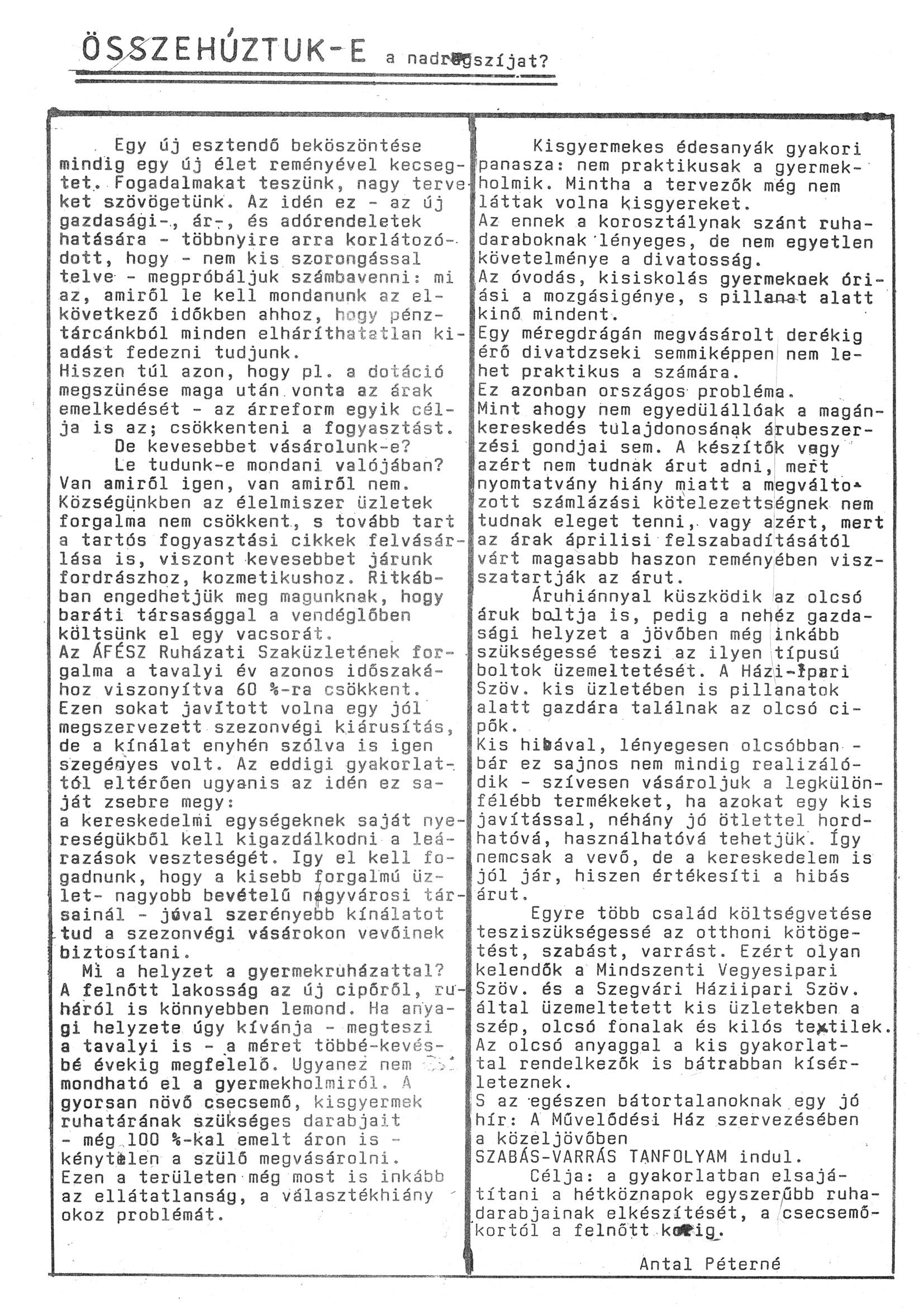 Szegvári Napló 001. lapszám – 1988. – 11. oldal – Digitalizá