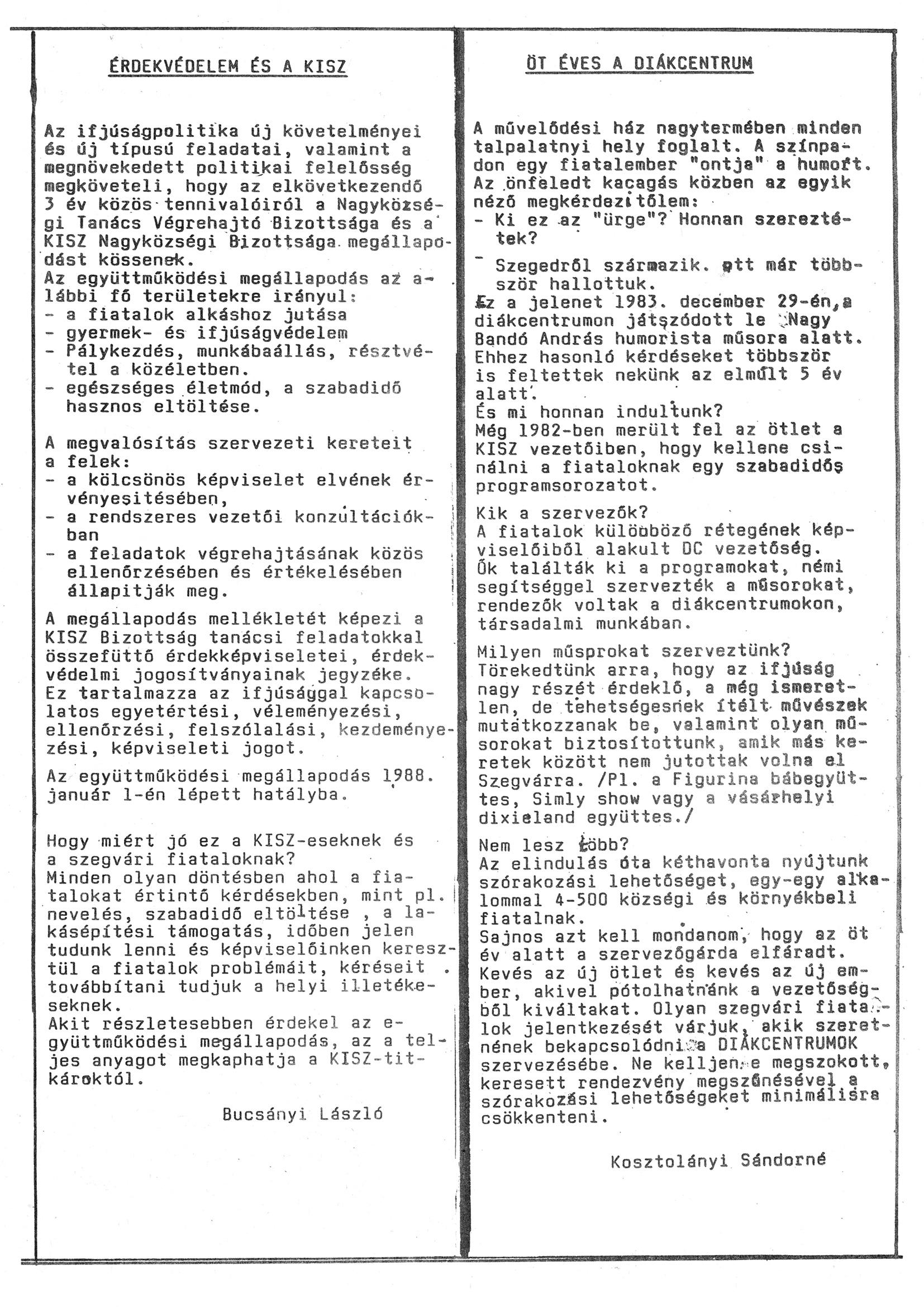 Szegvári Napló 001. lapszám – 1988. – 13. oldal – Digitalizá