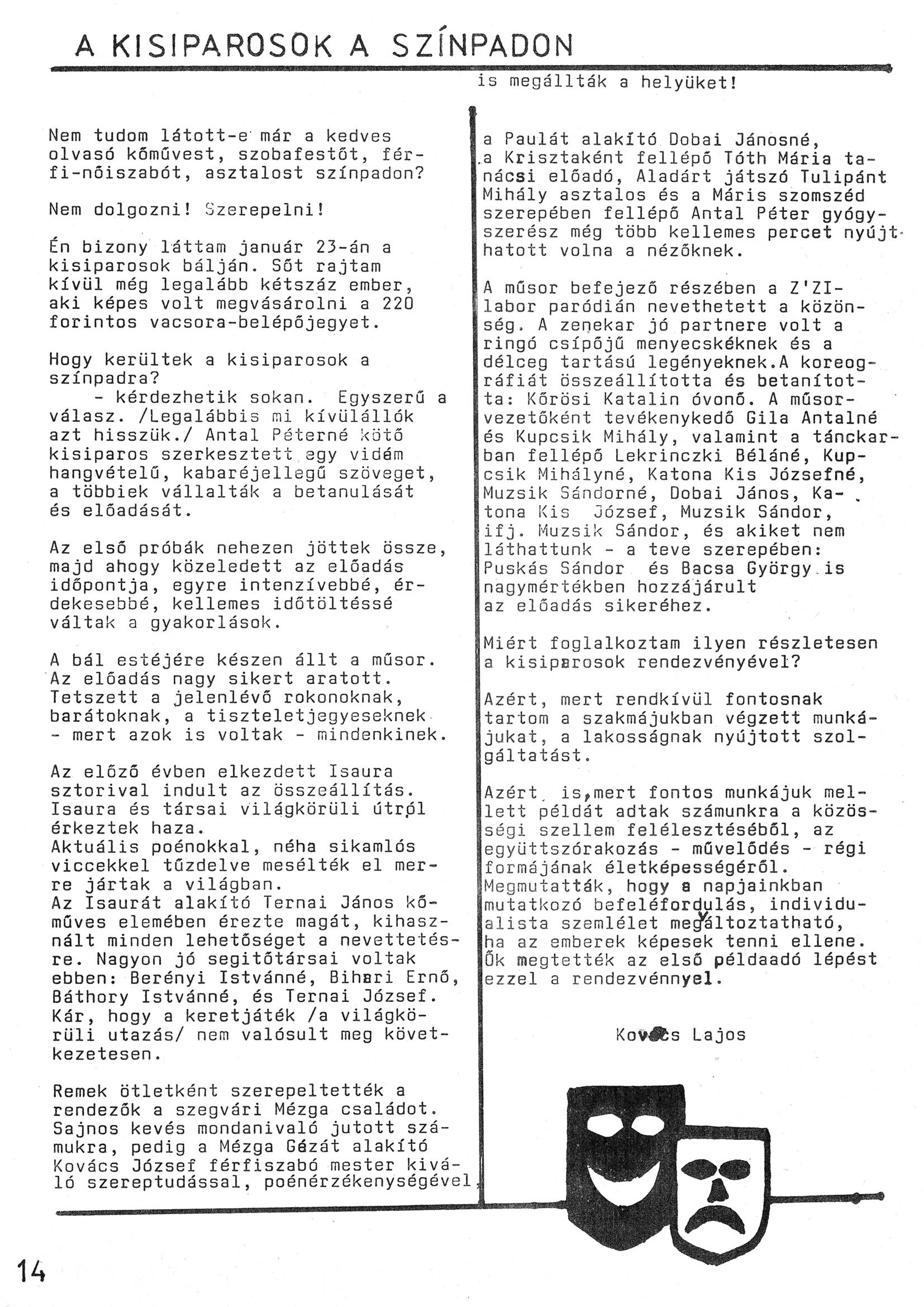 Szegvári Napló 001. lapszám – 1988. – 14. oldal – Digitalizá